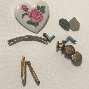 Vintage Brooch bundle and cuff link and more.